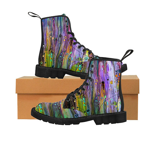 """""""Rainbow Monsters"""" Women's Canvas Boots"""