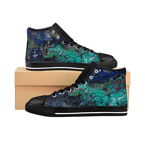 """""""Turquoise Flow"""" Men's High-top Sneakers"""
