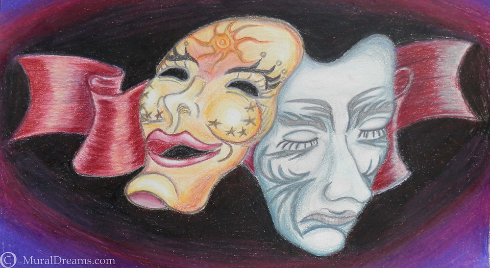 """The Masks We Wear"""", 9""""/12', pencil on paper"""