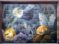 Pumpkins in a crystal cave mural