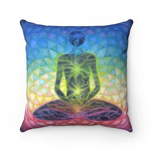 """Torus Chakra"" Mandala Faux Suede Square Pillow"
