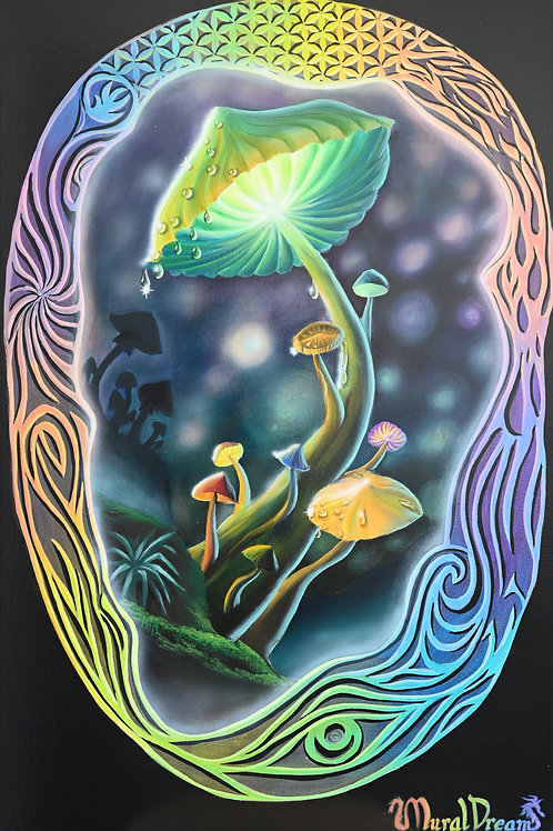 "Mushroom Magic, 36""/24"" ORIGINAL acrylic painting"