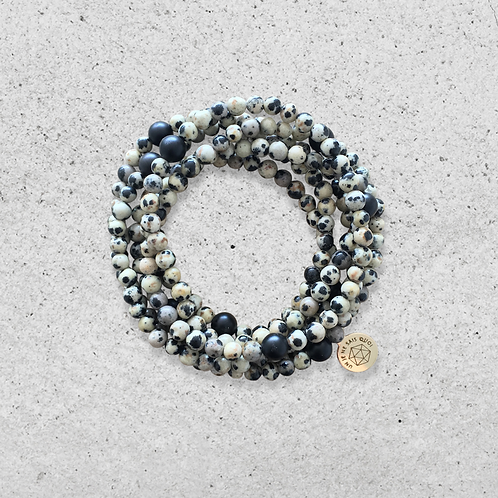 Bracelet multitours Jaspe dalmatien et Onyx