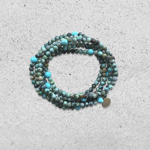 Bracelet multitours Turquoise Africaine