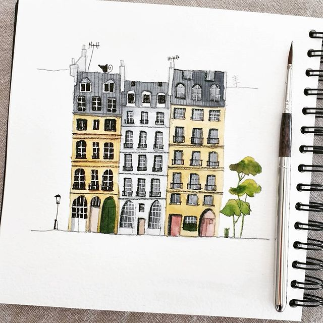 #PlaceDauphineParis #carnetdecroquis #carnetdevoyage #travelsketch #sketchbook #clairefontaine #esco