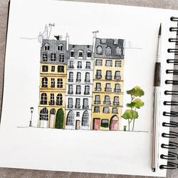 #PlaceDauphineParis #carnetdecroquis #carnetdevoyage #travelsketch #sketchbook #clairefontaine #esco