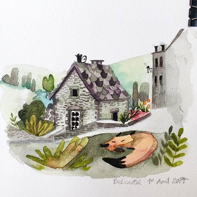 Un p'tit village moyenâgeux ✨_#travelsketch #sketchbook #occitanie #belcastel #aveyron #aquarelle #w