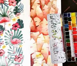 New designs #wip for #PremiereClasseParis next month ❤️_#SennelierAquarelle #escodabrush #archespape
