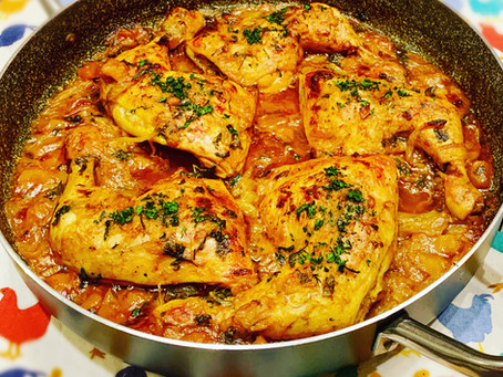 Mediterranean slow cooked chicken and butternut squash in a delicious seasoned sauce!