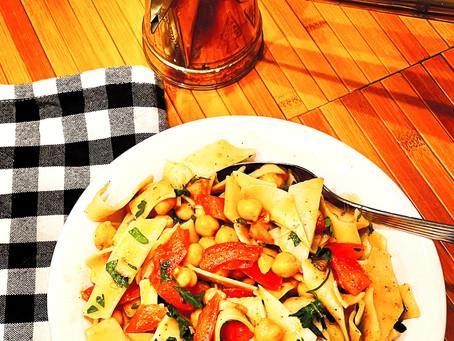 Mediterranean Fettuccine Pasta Spring Salad