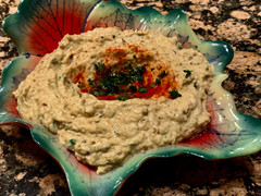 Babaganush - Eggplants and tahini blended into a delicious dip!