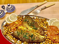 Mediterranean Baked Rainbow Trout with Chickpeas