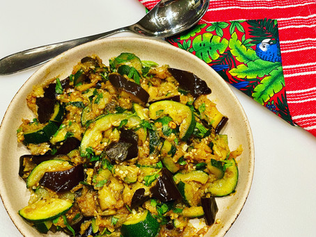 Mediterranean Aubergine and Courgette Delight - Just 2 Veggies! And Israeli Spices, lots of them!!