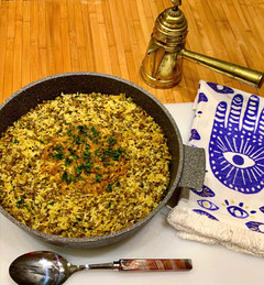 """Mujaddara - a much loved """"comfort food"""" dish made with lentils, onions and rice. (מג'דרה)"""