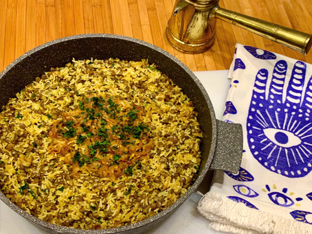 "Mujaddara - a much loved ""comfort food"" dish made with lentils, onions and rice. (מג'דרה)"