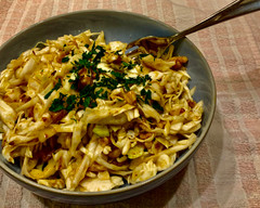 Shredded white cabbage and walnut salad