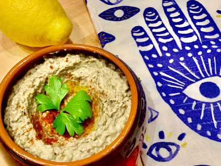 Babaganush - Eggplants and tahini blended into a delicious dip! (באבא גנוש)
