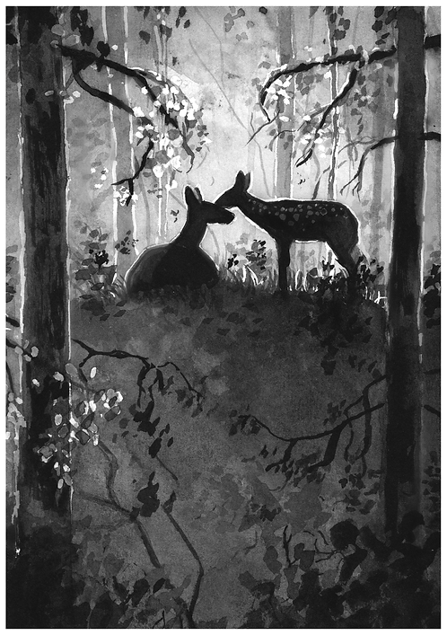 Deer and fawn hiding in the forest- PRINT