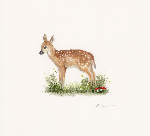 fawn in the meadow  | original watercolor