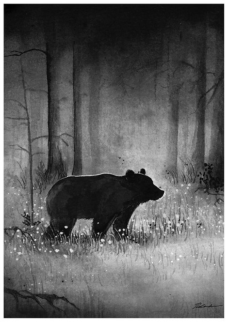 Bear silhouette in wildflowers  - PRINT