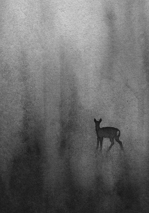 Roe deer in the morning fog  |  original ink painting