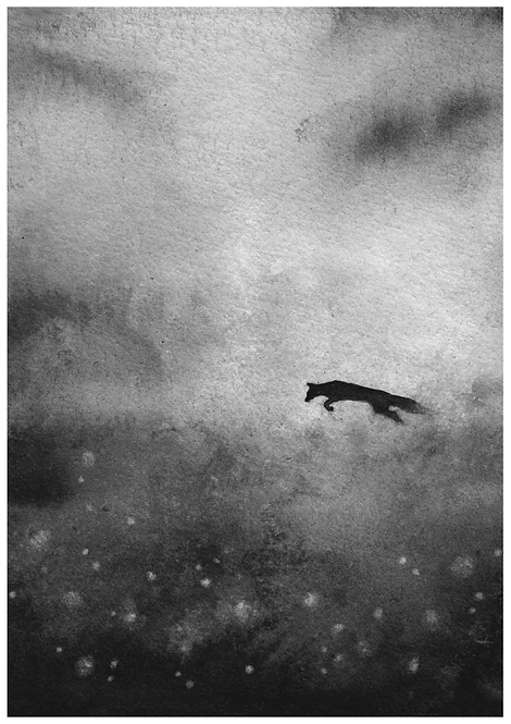 Jumping fox over a misty field - PRINT