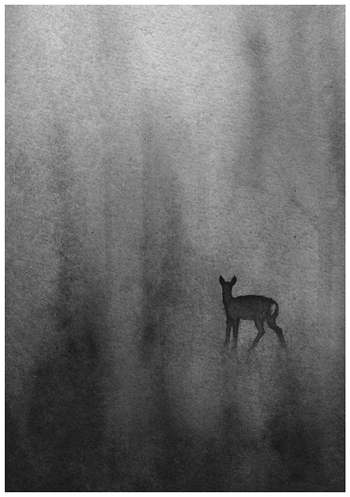 Roe deer silhouette in the fog - PRINT