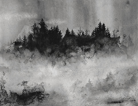 Foggy forest  |  original ink painting