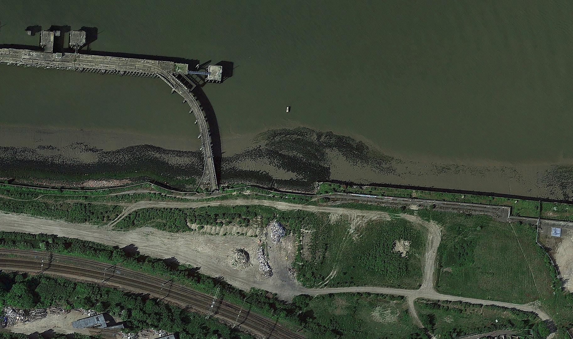 Aerial view of River Thames near Rainham, London.