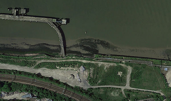 Aerial view of River Thames near Rainham, London.