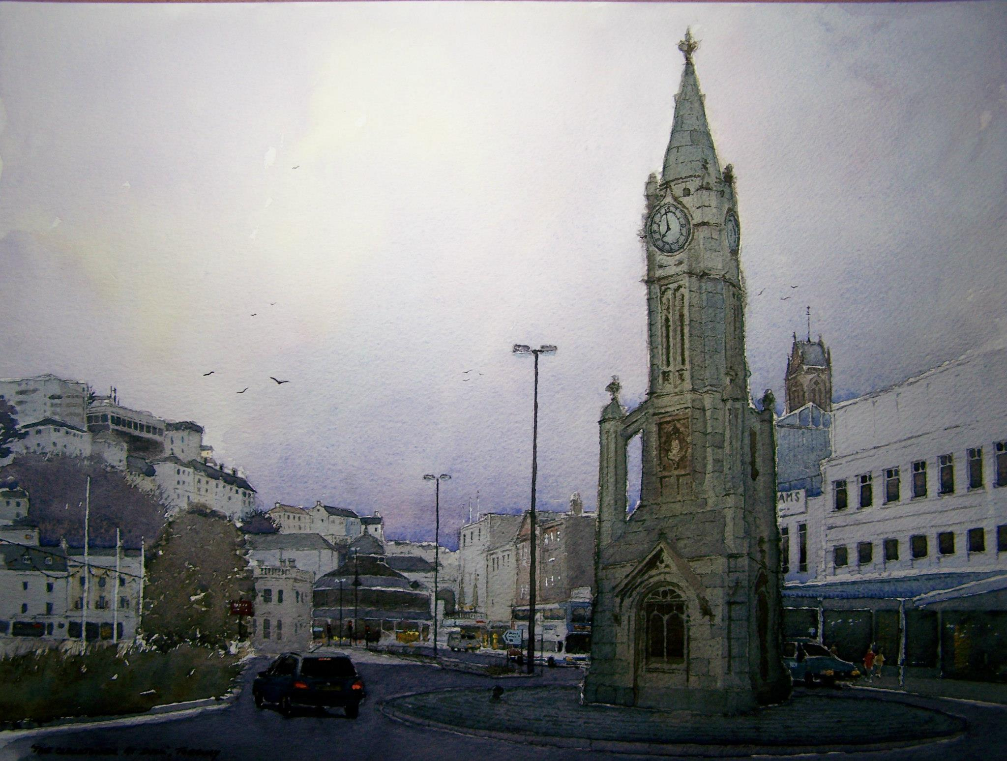 The clocktower at dusk, Torquay