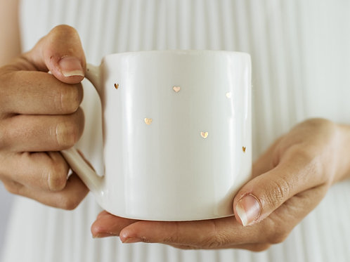 Gold Hearts White Cup and Mug