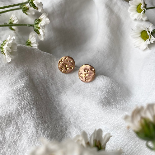 Gold Textured Ceramic Earrings
