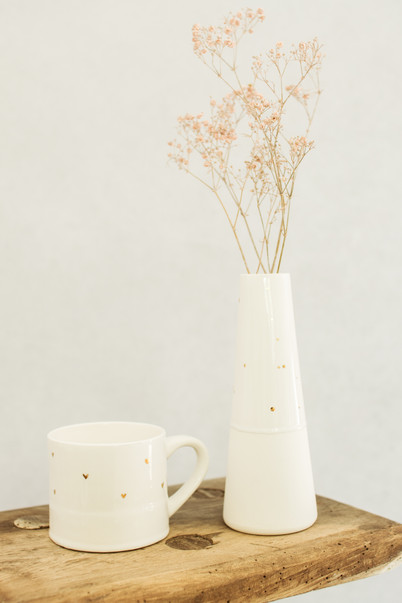 Gold Heart Cup and Gold Dot Vase