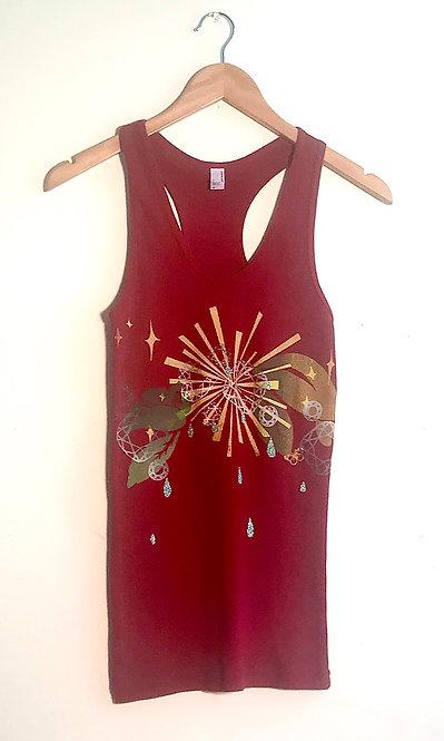 Size XL Cranberry starbursting art to wear screenprinted tank