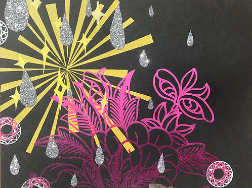 """Starbursting"" with Sparkling Rain"": Unique Screen Print on Paper 8""x11"","