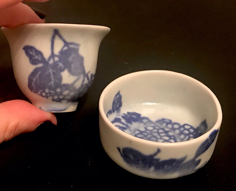 Set of 2 Tiny Porcelain Cups with Cobalt Berry Pattern