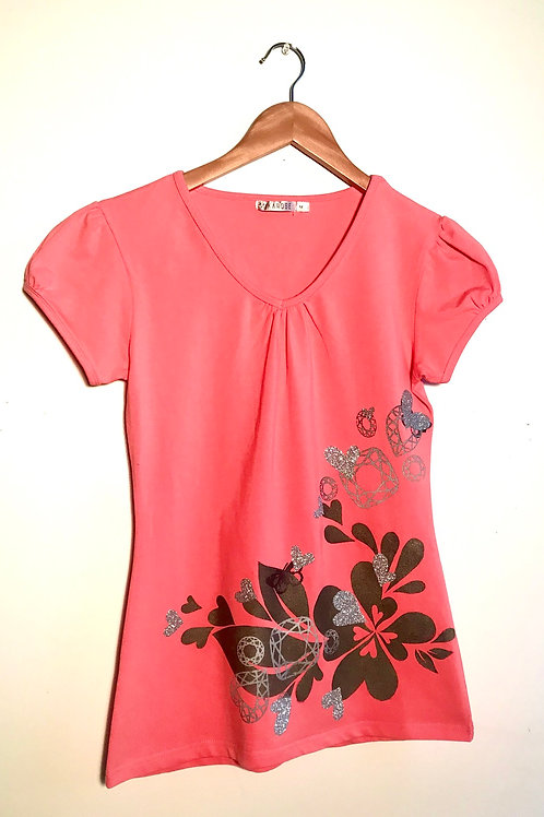 Coral fitted T with graphite heart splashing & sparkly silver hearts