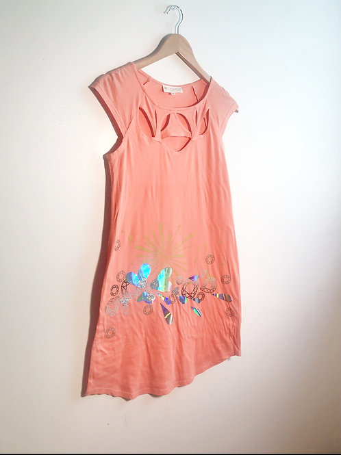 Size S Mango Cotton Dress with Hologram Heart Appliqué