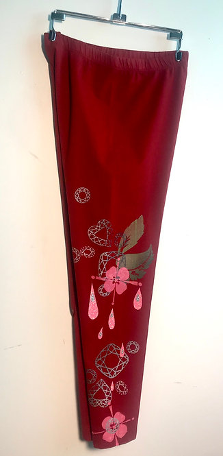 Size S Cranberry Dripping Blossom Lounge Wear Streatch Pants