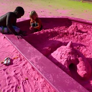 Pink Sandybox from public art project Magic Carpet, P