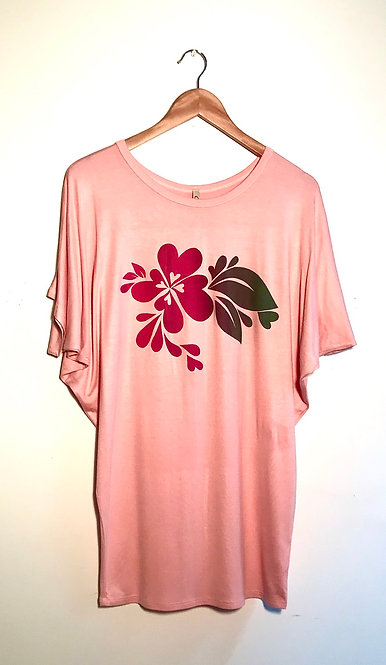 Size S Reddish pink heartsplash on soft silky peach slouchy T