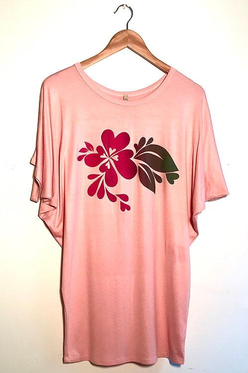 Size S: Reddish pink heartsplash on soft silky peach slouchy T