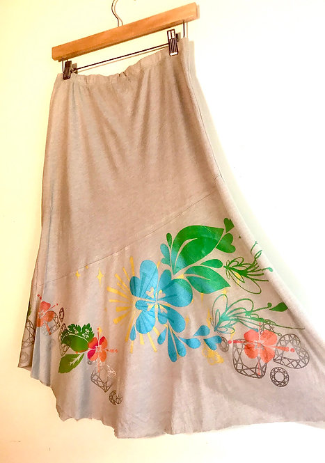 Sizes XS and M Cotton skirt Screen Printed Art to Wear Size XS