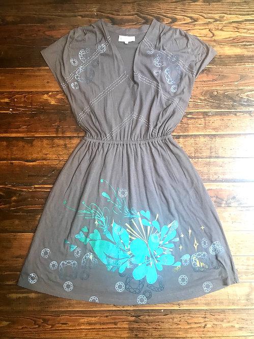 Size XS cotton dress with Aqua Blue Heartsplash & Gemstones