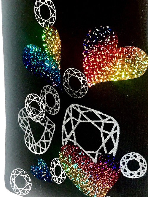 Size 3X Rainbow Hologram Gemstone Crop pant Lounge Wear