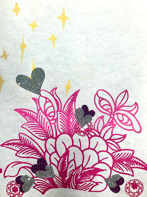 """""""Blooming Flowering with Sparkling Hearts in the Daylight""""; Unique Screen Print"""