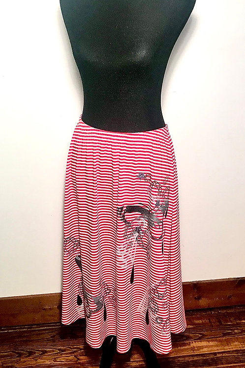 Platinum butterfly dripping black on Red striped skirt