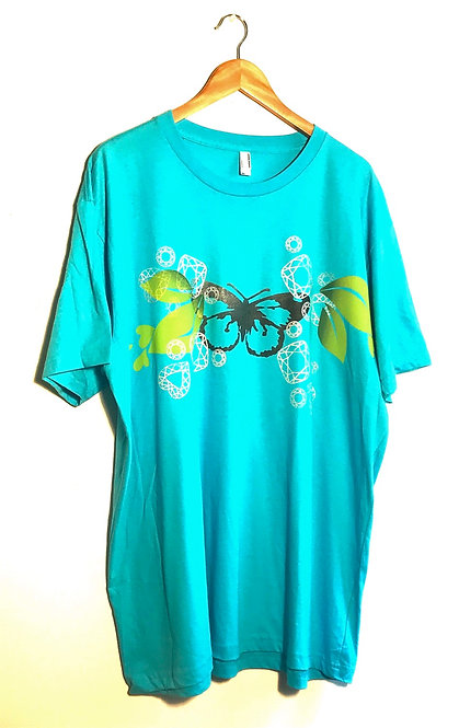 Size 2XL Butterfly & leaves amid gemstones on turquiose blue T
