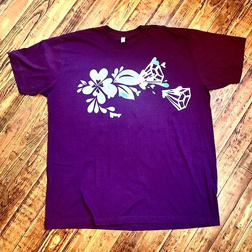 Purpley Plum T-shirt with silver heart splash, diamonds & aqua hearts
